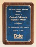 American Walnut Plaque with Marble Finished Plates Achievement Award Trophies