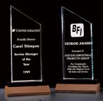 Zenith Summit Acrylic Award with Black Pedestal Walnut Base Achievement Award Trophies