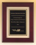 Rosewood Piano Finish Plaque with Florentine Plate Achievement Award Trophies
