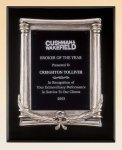 Black Piano Finish Plaque with Antique Silver Frame Casting Achievement Award Trophies