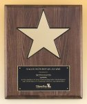 Walnut Stained Piano Finish Plaque with 8 Gold Star Achievement Award Trophies