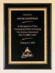 Black Piano Finish Plaque with Brass Plate Achievement Award Trophies