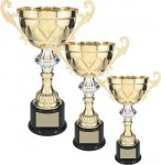 Gold Metal Loving Cup with Silver Accent Gold Cup Trophies