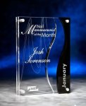 Wave Cutout Clear and Black Acrylic Award Modern Design Awards