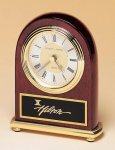 Rosewood Piano Finish Desk Clock on a Brass Base Sales Awards