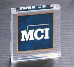 Sapphire Marble Center Acrylic Paper Weight Square Rectangle Awards