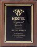 Plaque with Square Plate Award Walnut Plaques