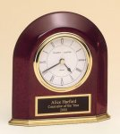 Rosewood Piano Finish Arched Desk Clock Wood Metal Accent Awards