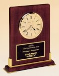 Desk Rosewood Piano Finish Clock Wood Metal Accent Awards